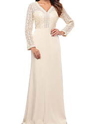 cheap -Sheath / Column V Neck Floor Length Chiffon / Lace Long Sleeve Plus Size / Elegant Mother of the Bride Dress with Beading / Appliques / Ruching 2020