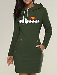 cheap -Women's Sheath Dress - Letter Black Wine Army Green S M L XL