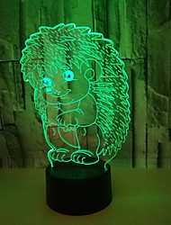 cheap -Acrylic Hedgehog 3d Night Lights Colorful Stereo Night Lights Creative Gifts 3d Led Lights