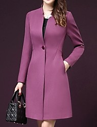 cheap -Women's Daily Fall & Winter Long Coat, Solid Colored Stand Long Sleeve Polyester Black / Purple