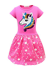 cheap -Kids Little Girls' Dress Unicorn Geometric Sequins Tulle Print Purple Blushing Pink Fuchsia Cotton Midi Short Sleeve Active Dresses Regular Fit