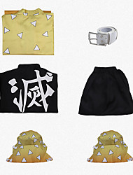 cheap -Inspired by Demon Slayer: Kimetsu no Yaiba Cosplay Anime Cosplay Costumes Japanese Cosplay Suits Size S sleeve measures 58 cm (Sleeve length increases 1 cm with each size up) 55cm 60cm Coat Top Pants
