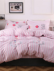 cheap -Duvet Cover Sets Cartoon / Stripes / Ripples Polyster Printed 4 PieceBedding Sets