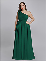 cheap -A-Line One Shoulder Floor Length Chiffon Plus Size Prom Dress with Appliques 2020