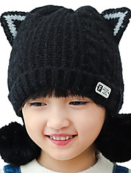 cheap -Kids / Toddler Boys' / Girls' Active / Basic / Sweet Solid Colored / Cartoon Stylish / Knitting Cotton / Roman Knit Hats & Caps Black / Blushing Pink / Red One-Size