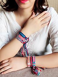 abordables -Bracelet à maillons fait main Femme Tressé Thème floral Bohème Décontracté / Sport Le style mignon Bracelet Bijoux Noir Rouge Bleu pour Quotidien