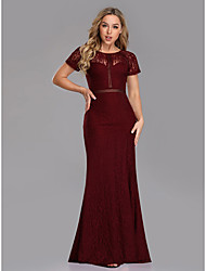 cheap -Sheath / Column Jewel Neck Floor Length Lace Short Sleeve Plus Size Mother of the Bride Dress with Lace / Pattern / Print 2020
