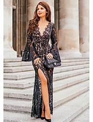 cheap -Women's Basic Slim Sheath Dress - Floral Lace Backless Deep V Lace Black S M L XL