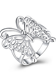 cheap -Women's Ring 1pc Silver Silver-Plated Alloy Daily Jewelry Butterfly