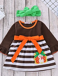 cheap -Baby Girls' Basic Striped / Halloween Long Sleeve Dress Brown / Toddler