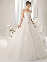 cheap -Two Piece Strapless Court Train Lace / Tulle Short Sleeve Simple Sexy Wedding Dresses with Crystals / Beading 2020 / Yes