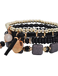 cheap -4pcs Women's Bead Bracelet Geometrical Heart Letter Natural Cute Stone Bracelet Jewelry Black / White / Green For Daily