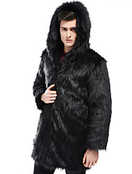 cheap -Men's Daily Winter Long Faux Fur Coat, Solid Colored Hooded Long Sleeve Faux Fur Black / Gray