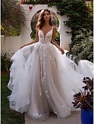 cheap -A-Line V Neck Chapel Train Lace / Tulle Spaghetti Strap Romantic Sexy / Beautiful Back Wedding Dresses with Appliques 2020