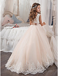 cheap -A-Line Crew Neck Sweep / Brush Train Satin / Tulle Junior Bridesmaid Dress with Sash / Ribbon / Appliques