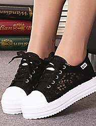 cheap -Women's Sneakers Flat Heel Round Toe Canvas Summer Black / White