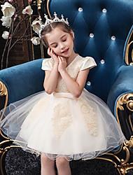 cheap -Princess Knee Length Flower Girl Dress - Tulle Short Sleeve V Neck with Butterfly Design / Beading / Appliques