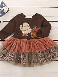 cheap -Baby Girls' Basic Print Long Sleeve Dress Brown