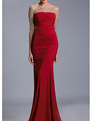cheap -Mermaid / Trumpet Illusion Neck Floor Length Chiffon Sexy / Red Engagement / Formal Evening Dress with Beading / Ruched 2020