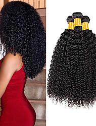 Недорогие -3 Связки Перуанские волосы Kinky Curly Натуральные волосы Человека ткет Волосы Пучок волос Накладки из натуральных волос 8-28 дюймовый Естественный цвет Ткет человеческих волос / 8A