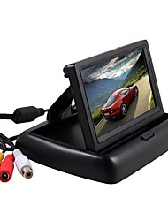 cheap -4.3 inch folding LCD rearview monitor for car parking rearview mirror spare display 2 video inputs rearview camera DVD