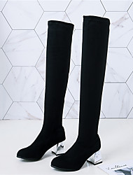cheap -Women's Boots Over-The-Knee Boots Block Heel Round Toe Sequin Faux Fur Over The Knee Boots Casual Walking Shoes Fall & Winter Black