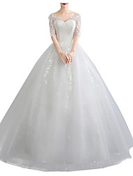 cheap -A-Line V Neck Floor Length Polyester Half Sleeve Made-To-Measure Wedding Dresses with Appliques 2020