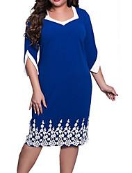 Недорогие -Жен. Изысканный Прямое Платье - Однотонный Средней длины