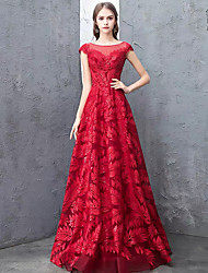 cheap -A-Line Elegant Prom Dress Jewel Neck Short Sleeve Floor Length Lace Satin with Lace Insert 2020