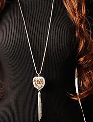 Недорогие -Жен. Ожерелья с подвесками Цепочка длинное ожерелье Классический Сердце Везучий корейский Мода Modern Симпатичные Стиль Хром Золотой Серебряный 91 cm Ожерелье Бижутерия 1шт Назначение