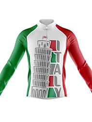 cheap -21Grams Italy National Flag Men's Long Sleeve Cycling Jersey - Red / White Bike Jersey Top Thermal / Warm UV Resistant Breathable Sports Winter Fleece 100% Polyester Mountain Bike MTB Road Bike
