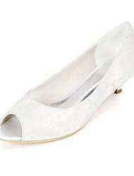 cheap -Women's Wedding Shoes Kitten Heel Peep Toe Minimalism Wedding Party & Evening Lace Floral White Light Purple Ivory