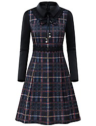 cheap -Women's Elegant A Line Dress - Plaid Yellow Navy Blue S M L XL