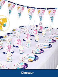Недорогие -Детский душ день рождения динозавр тема праздничные атрибуты принадлежности единорог бумажный стаканчик тарелка посуда поставки