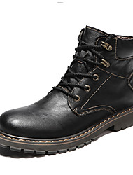 cheap -Men's Combat Boots Cowhide Winter Casual Boots Warm Booties / Ankle Boots Black / Brown / Gray