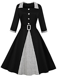 cheap -Women's Daily Wear Casual / Daily Vintage Basic A Line Sheath Dress - Color Block Check Black Red S M L XL