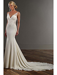 cheap -Mermaid / Trumpet V Neck Chapel Train Lace / Stretch Satin Spaghetti Strap See-Through / Beautiful Back Wedding Dresses with Appliques 2020