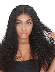 cheap -Remy Human Hair Full Lace Lace Front Wig Side Part style Brazilian Hair Curly Black Wig 130% 150% 180% Density Fashionable Design Party Women Easy dressing Comfortable Women's Medium Length Human