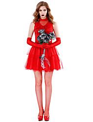 abordables -Mariée fantomatique Robe Costume de Cosplay Tenue Costume de Soirée Adulte Femme Cosplay Halloween Halloween Fête / Célébration Tulle Polyester Rouge Femme Déguisement Carnaval / Casque / Gants