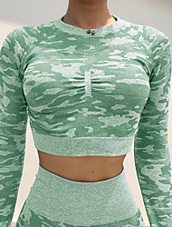cheap -Women's Yoga Top Camo / Camouflage Yoga Gym Workout Top Activewear Breathable Moisture Wicking Quick Dry Stretchy