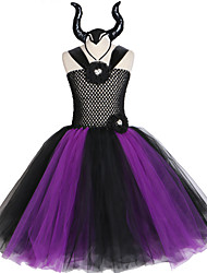 cheap -Maleficent Gown Tutu Dress with Deluxe Horns Girls Villain Fancy  Kids Halloween Cosplay Witch Costume
