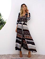 cheap -Women's Vacation Beach Boho Swing Dress - Geometric Split Print Black Red Brown S M L XL