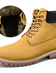 cheap -Men's Snow Boots Leather Winter Classic / Casual Boots Hiking Shoes / Walking Shoes Warm Booties / Ankle Boots Yellow