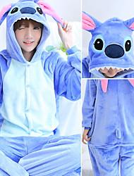 cheap -Adults' Kigurumi Pajamas Cartoon Blue Monster Onesie Pajamas Flannelette Blue / Pink Cosplay For Men and Women Animal Sleepwear Cartoon Festival / Holiday Costumes / Leotard / Onesie