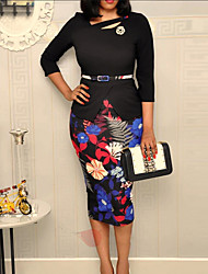 cheap -Women's Bodycon Dress - Floral Black M L XL XXL
