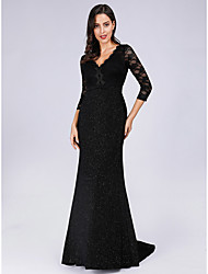 cheap -Sheath / Column V Neck Sweep / Brush Train Lace Open Back Formal Evening Dress with 2020
