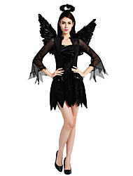 cheap -Angel Cosplay Costume Outfits Masquerade Adults' Women's Cosplay Halloween Halloween Festival / Holiday Polyster Black Women's Carnival Costumes / Dress / Wings / Headwear