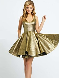 cheap -A-Line Plunging Neck Short / Mini Taffeta Sparkle & Shine Cocktail Party / Holiday Dress with Ruffles 2020