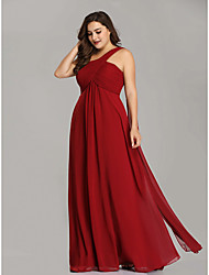 cheap -A-Line Plus Size Red Holiday Wedding Guest Dress One Shoulder Sleeveless Floor Length Chiffon with Pleats Draping 2020