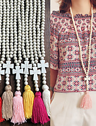cheap -Women's White Pendant Necklace Necklace Long Necklace Beaded Cross Weave Vintage Trendy Ethnic Fashion Cord Wood Stone Black Rose Red Light Blue White Yellow 90 cm Necklace Jewelry 1pc For Daily